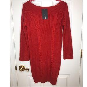 Off the Shoulder Sweater Dress (burnt orange)